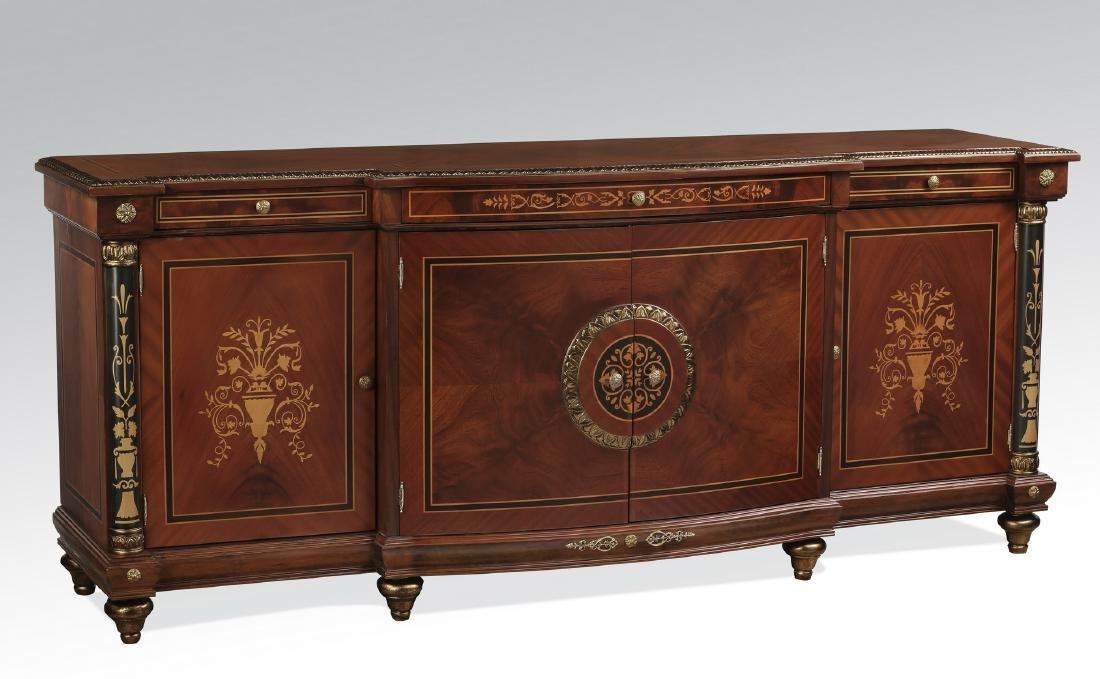 """Italian marquetry inlaid mahogany credenza, 86""""h"""