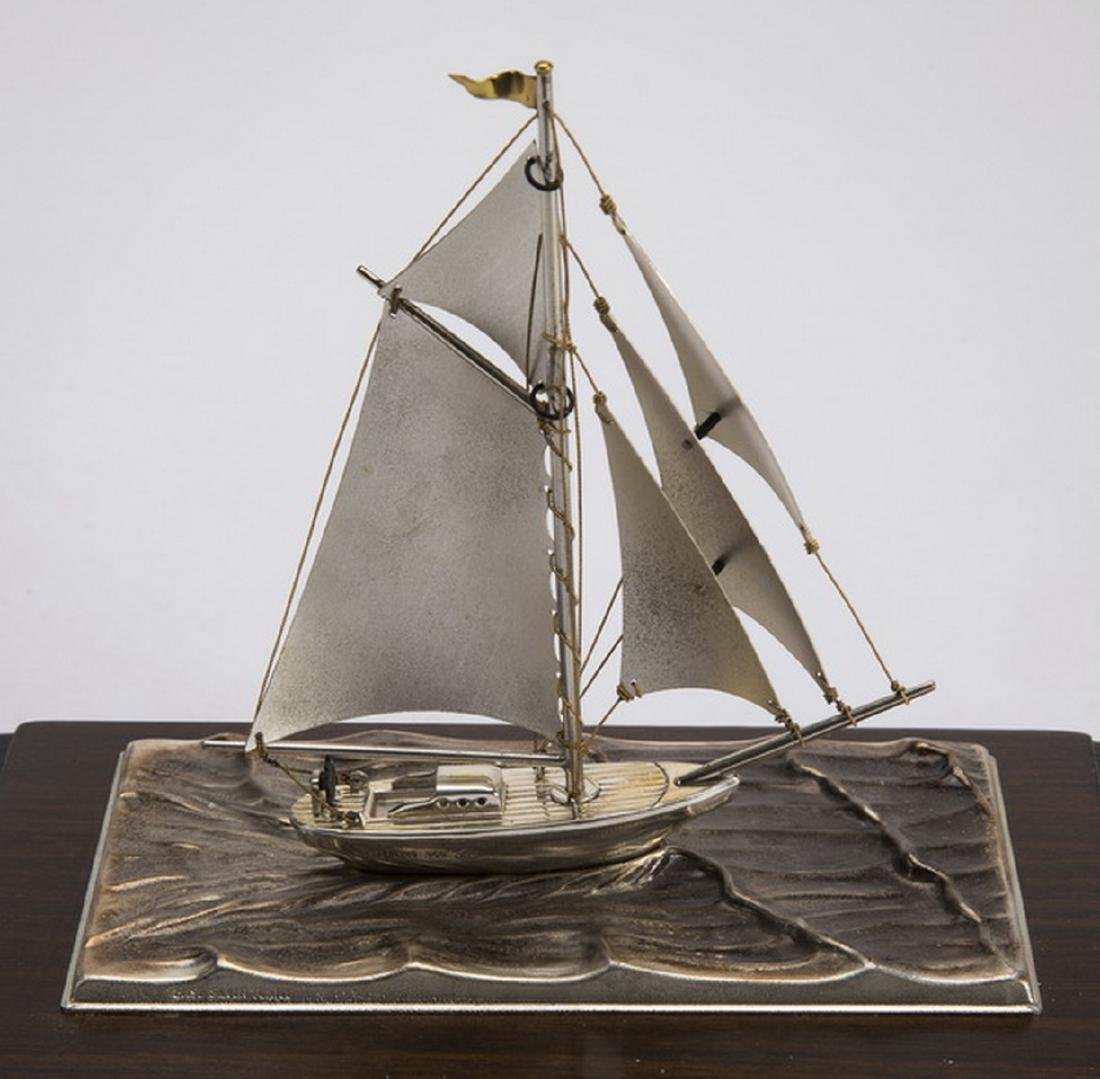 "Sterling silver yacht, limited edition, 9""h - 5"