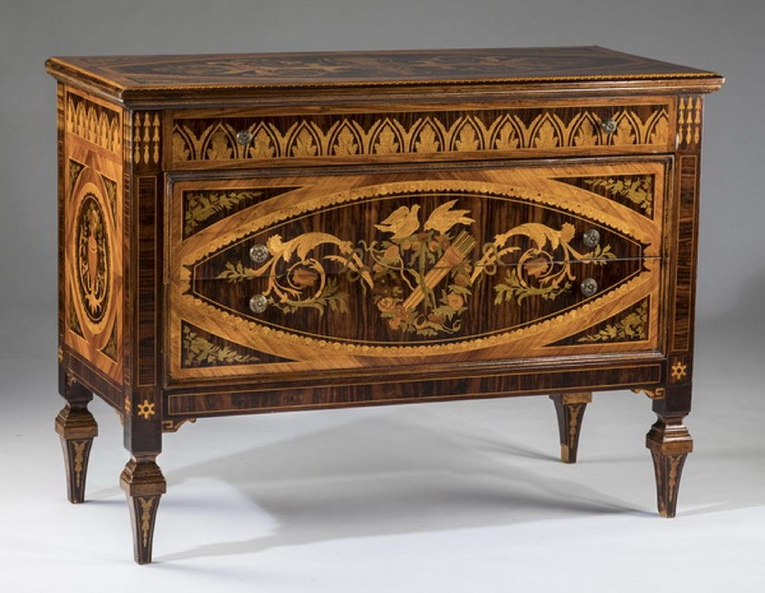 "19th c. Italian marquetry inlaid chest, 49""w"