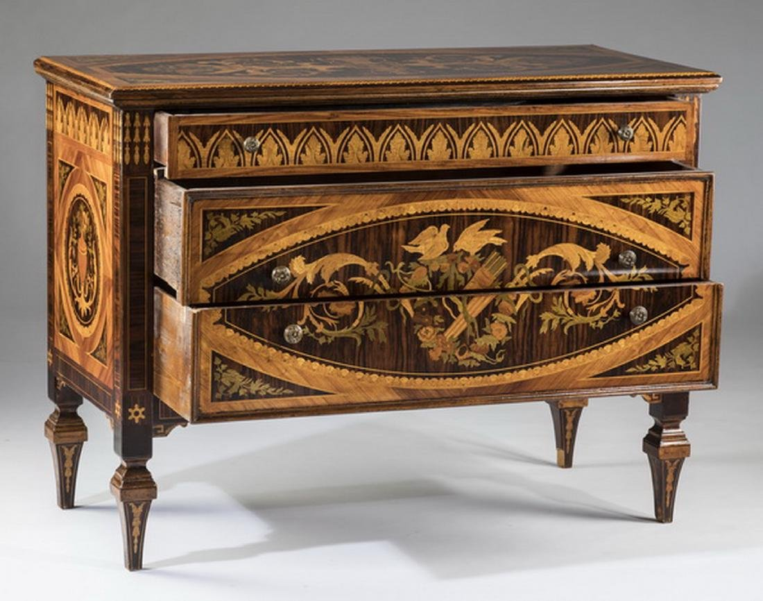 "19th c. Italian marquetry inlaid chest, 49""w - 2"