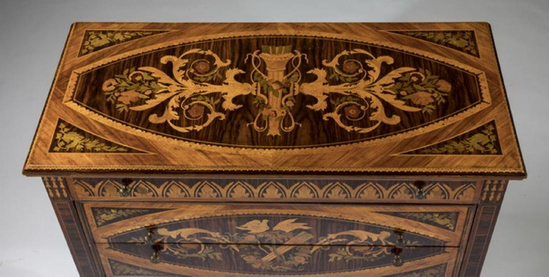 "19th c. Italian marquetry inlaid chest, 49""w - 3"