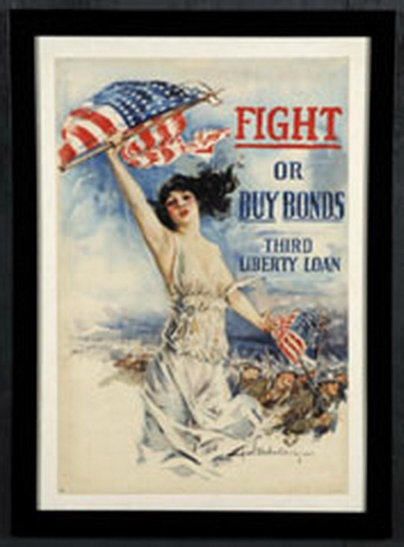 Circa 1917 WWI era War Bonds poster, framed - 2