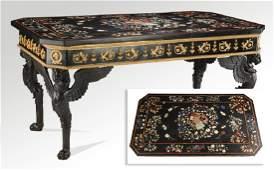 """Continental pietra dura & bronze center table, 71""""l"""