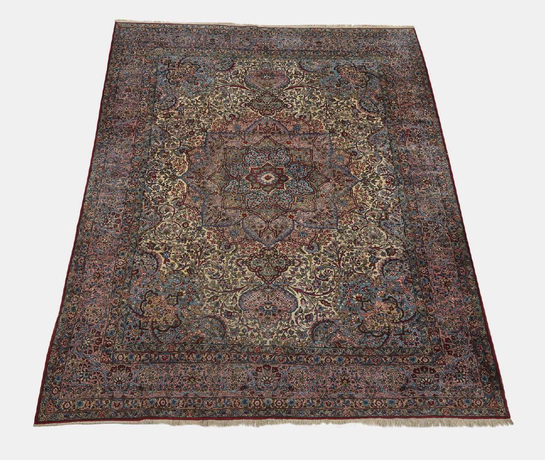 Hand knotted wool Persian Lavar Kerman carpet, 11 x 9