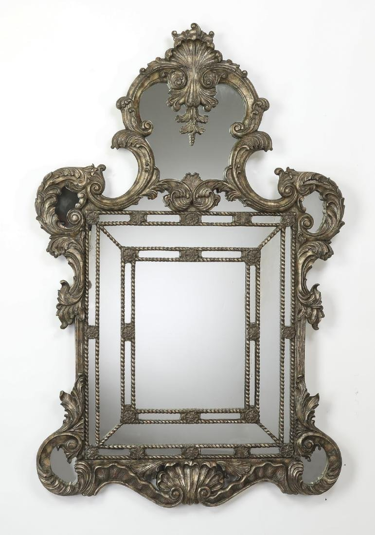 """La Barge carved mirror with silvered finish, 64""""h"""