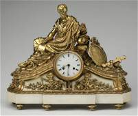 19th c. French figural gilt bronze and marble clock