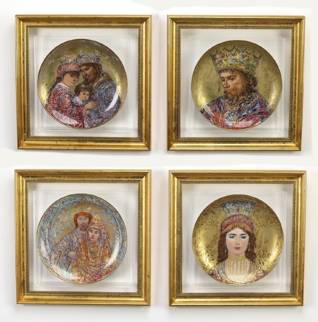 (4) 'David' hand painted plates by Hibel