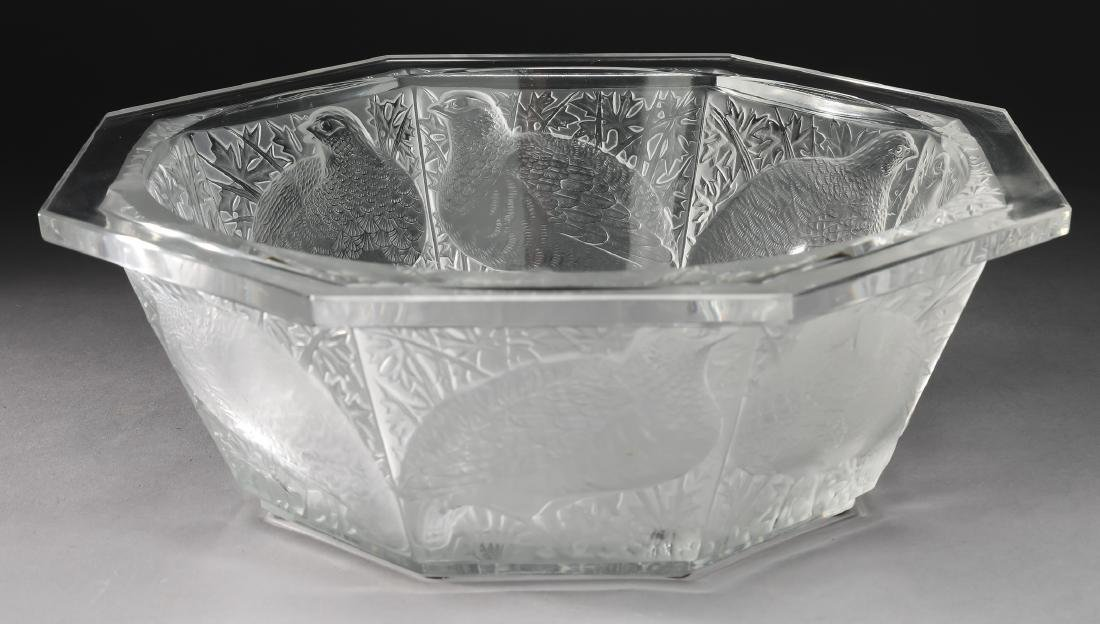 """Lalique France ''Caille'' crystal center bowl, 13""""dia"""