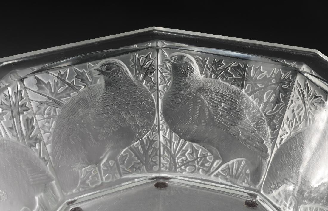 """Lalique France ''Caille'' crystal center bowl, 13""""dia - 2"""