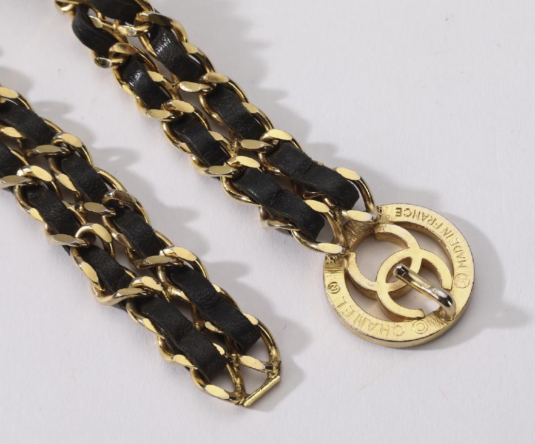 Chanel vintage CC single medallion double chain belt - 3