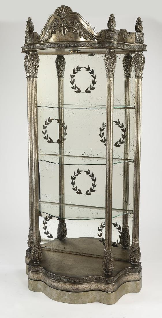 French inspired silvered etagere w/ mirror back