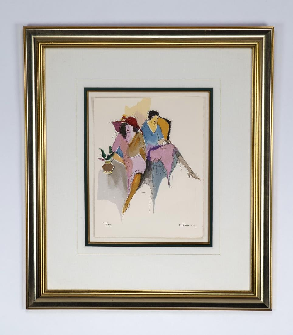 Itzchak Tarkay signed litho of two seated ladies