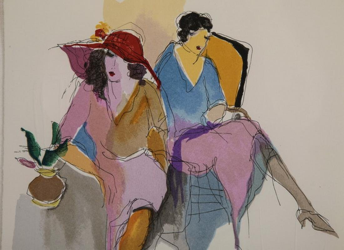 Itzchak Tarkay signed litho of two seated ladies - 2