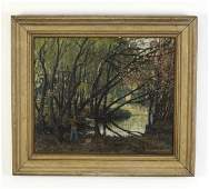 Continental O/c of artist painting in woods, signed