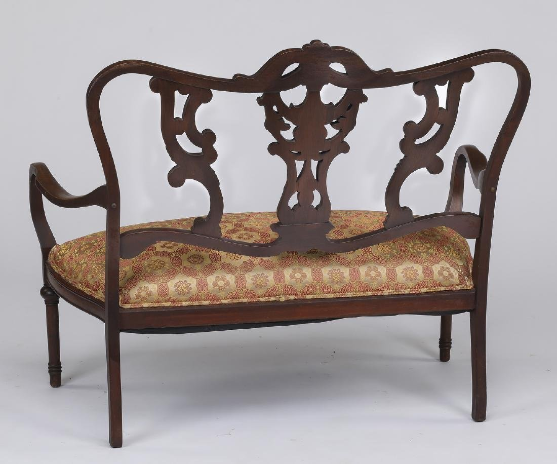 """Victorian style carved walnut settee, 43""""w - 2"""