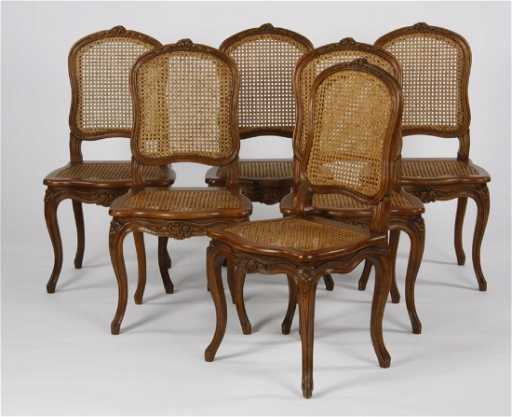 6 French Provincial Style Woven Cane Chairs