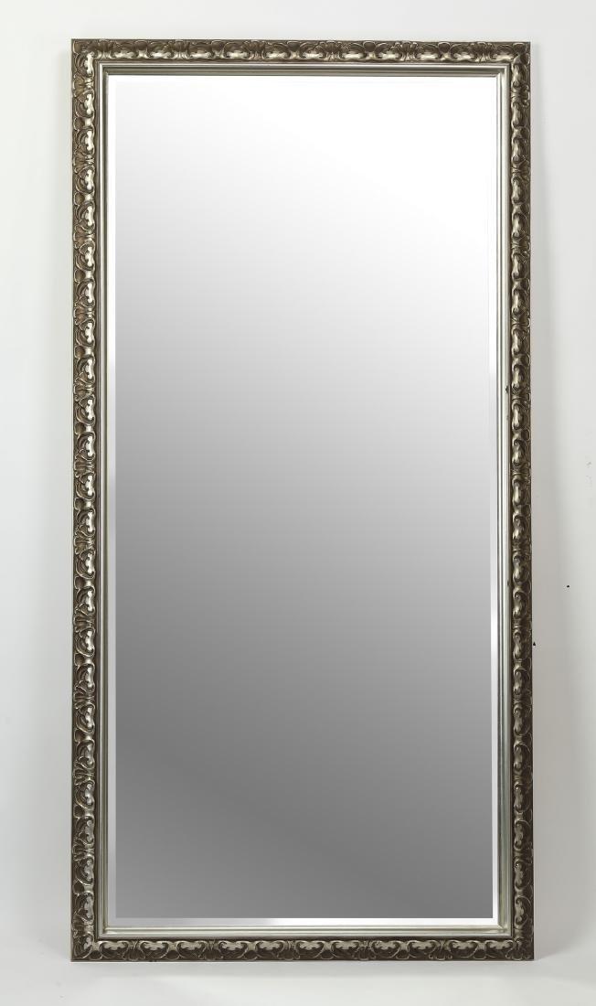 "Rectangular beveled mirror, w/ silvered frame, 72""h"