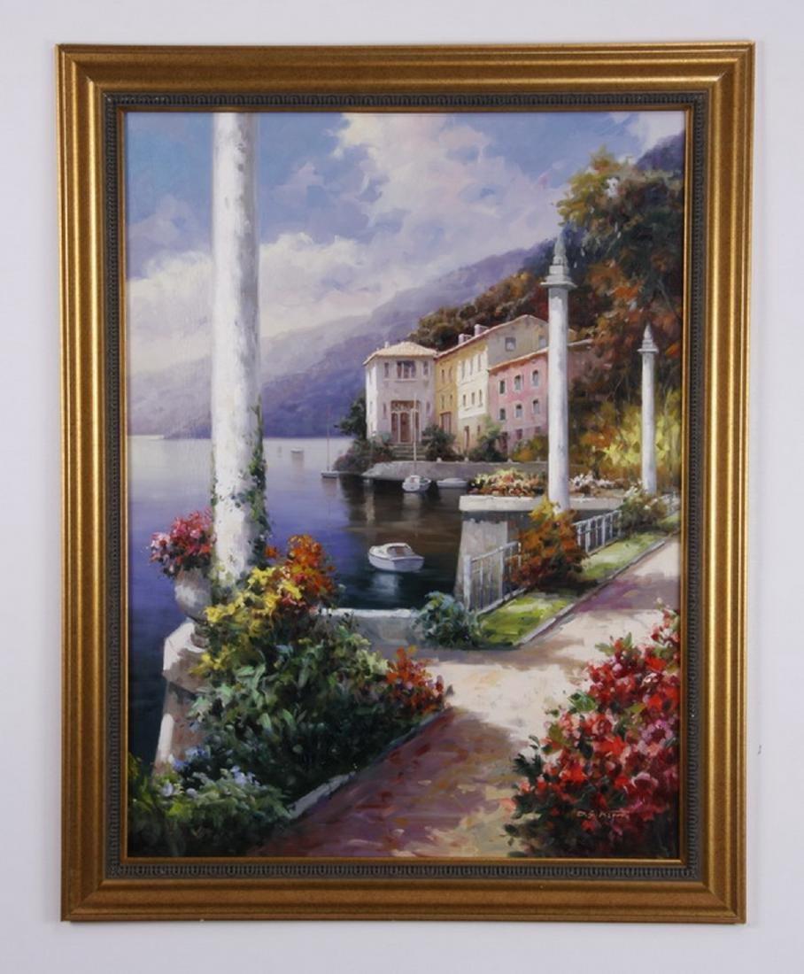 "D. S. Kim signed O/c Italian lake scene, 47""h"