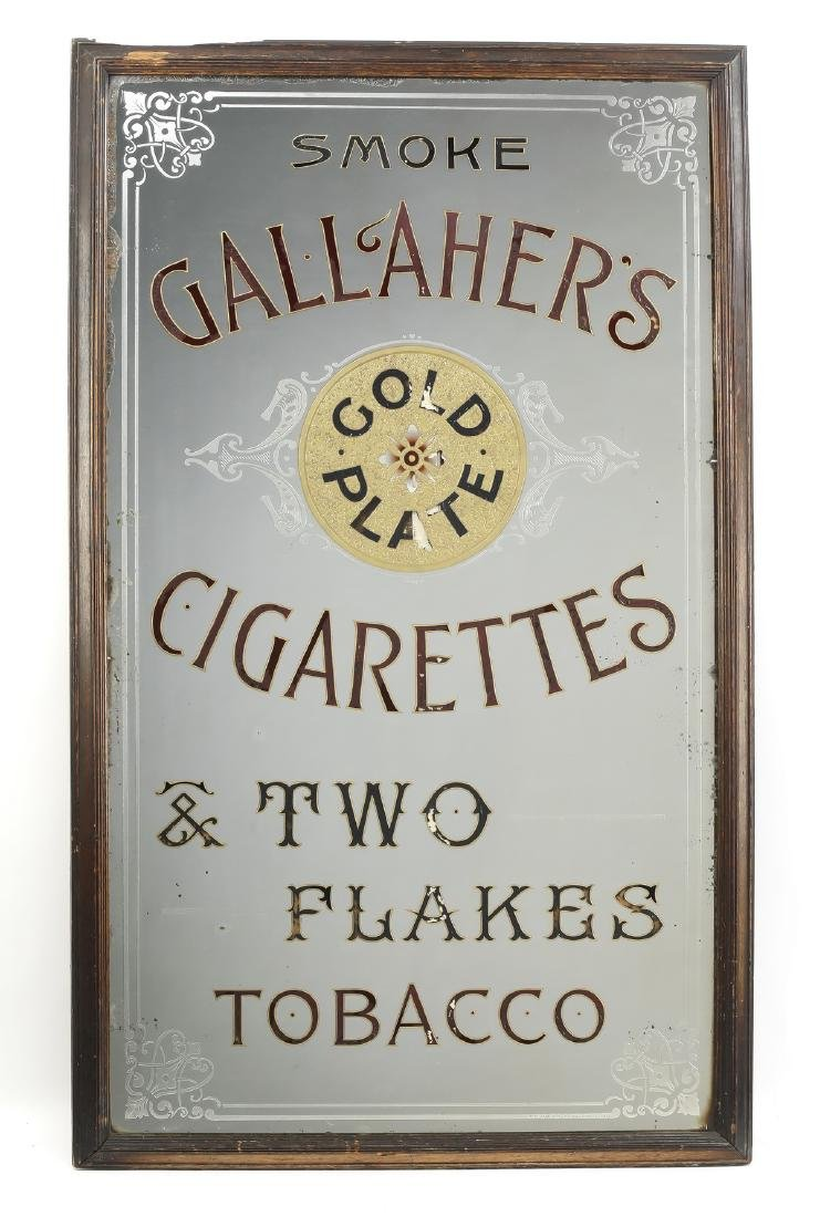 Reverse-painted advertising mirror for Gallaher's