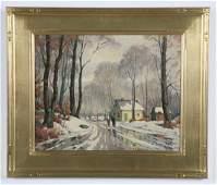 Jacob Greenleaf signed O/c, winter scene