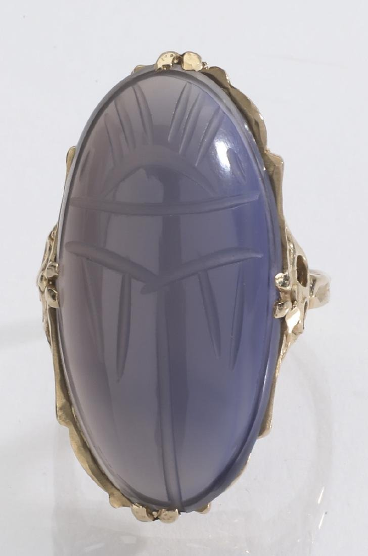 Lavender chalcedony & 14k gold scarab ring