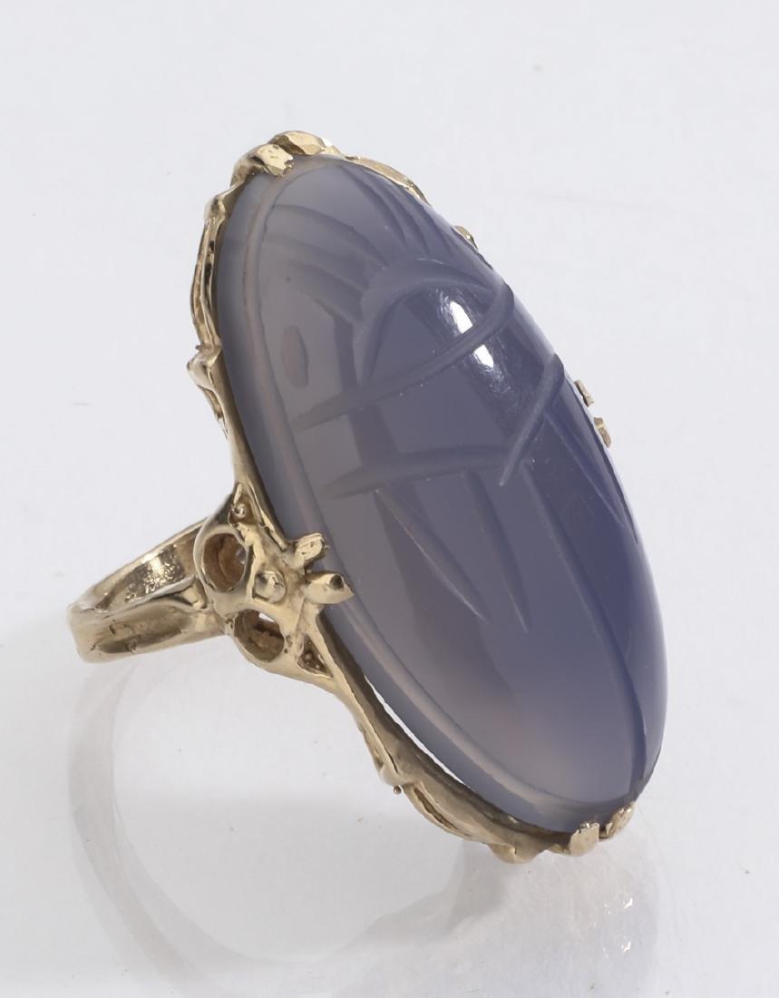 Lavender chalcedony & 14k gold scarab ring - 2