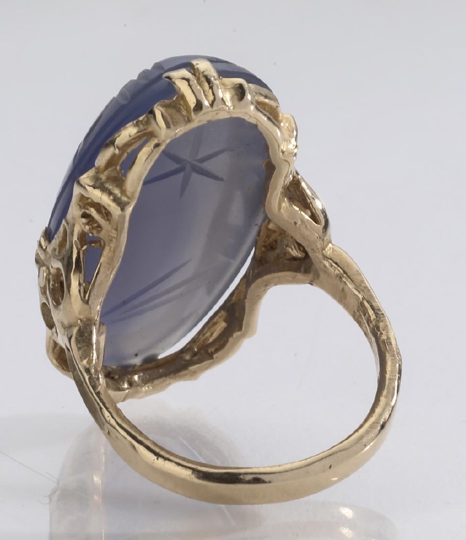 Lavender chalcedony & 14k gold scarab ring - 3