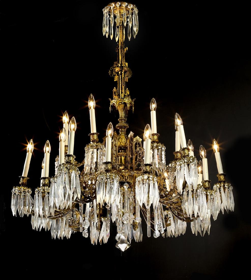 19th c. French bronze & crystal chandelier