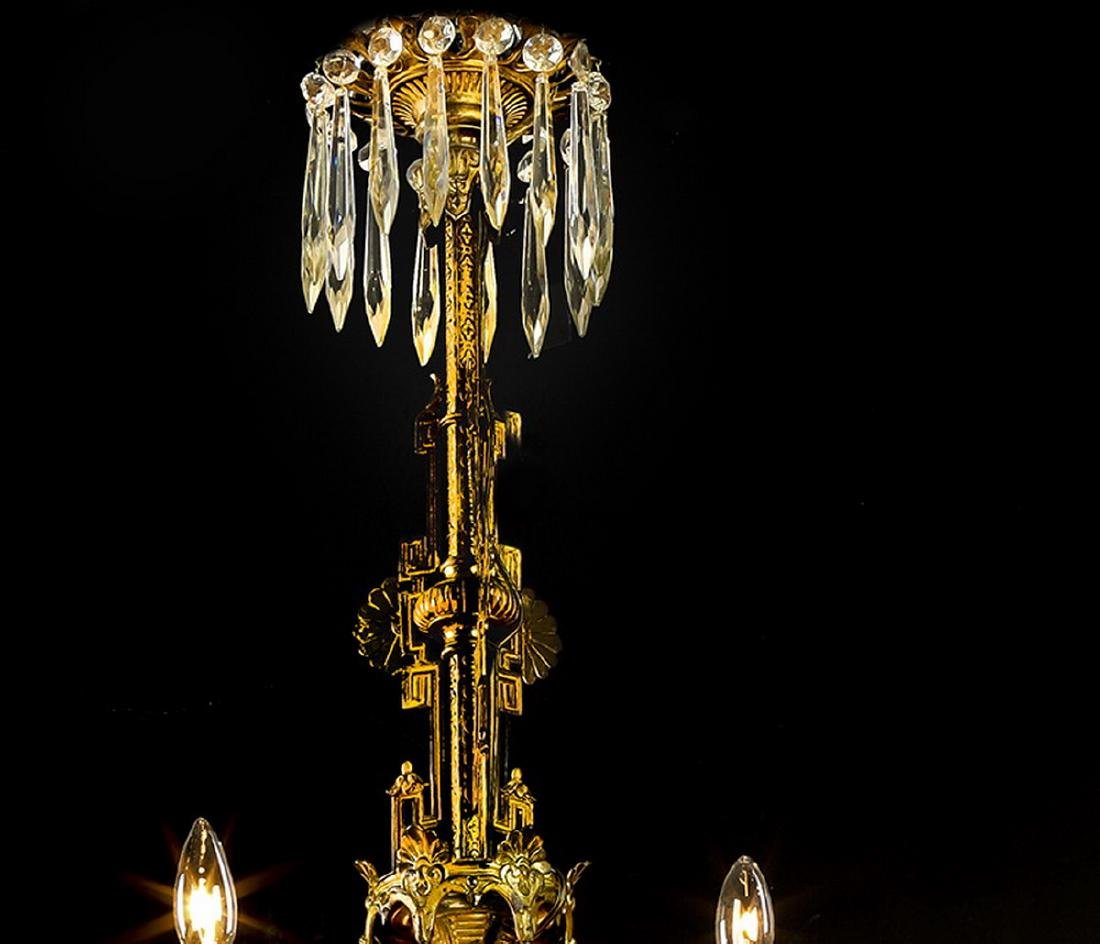 19th c. French bronze & crystal chandelier - 2