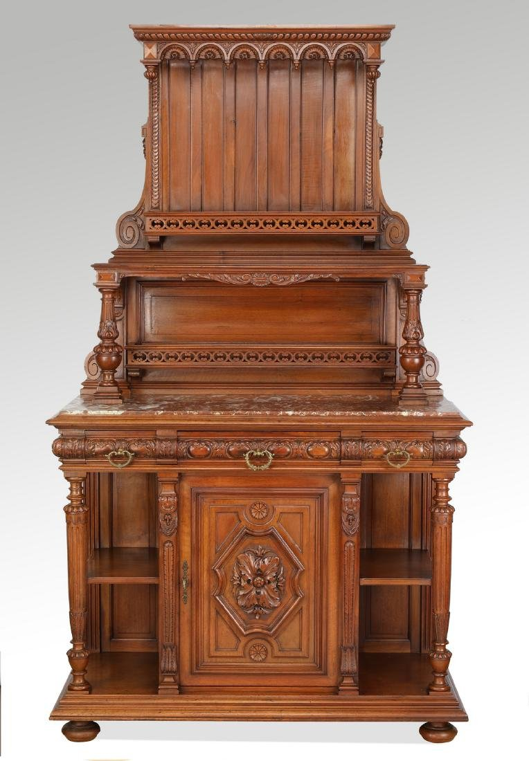 """19th c. French marble top oak sideboard, 81""""h"""