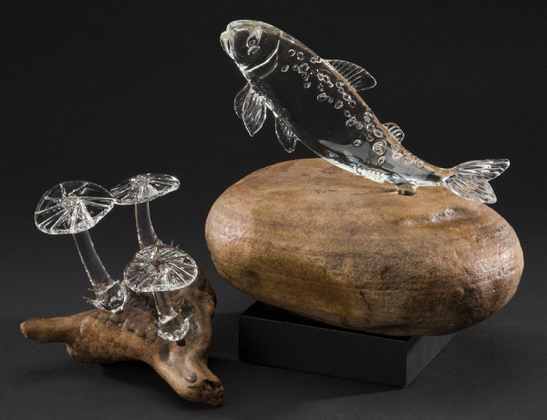 (2) Hand formed crystal art glass sculptures - 2