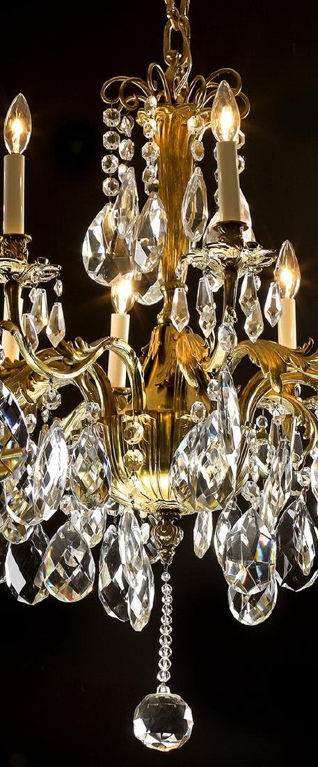 Continental bronze and crystal 12-light chandelier - 3