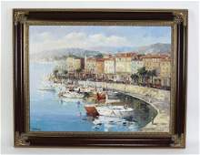 20th c. Continental style O/c of Mediterranean boats