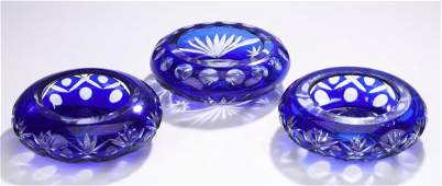 3 Bohemian cobalt cut crystal votive holders