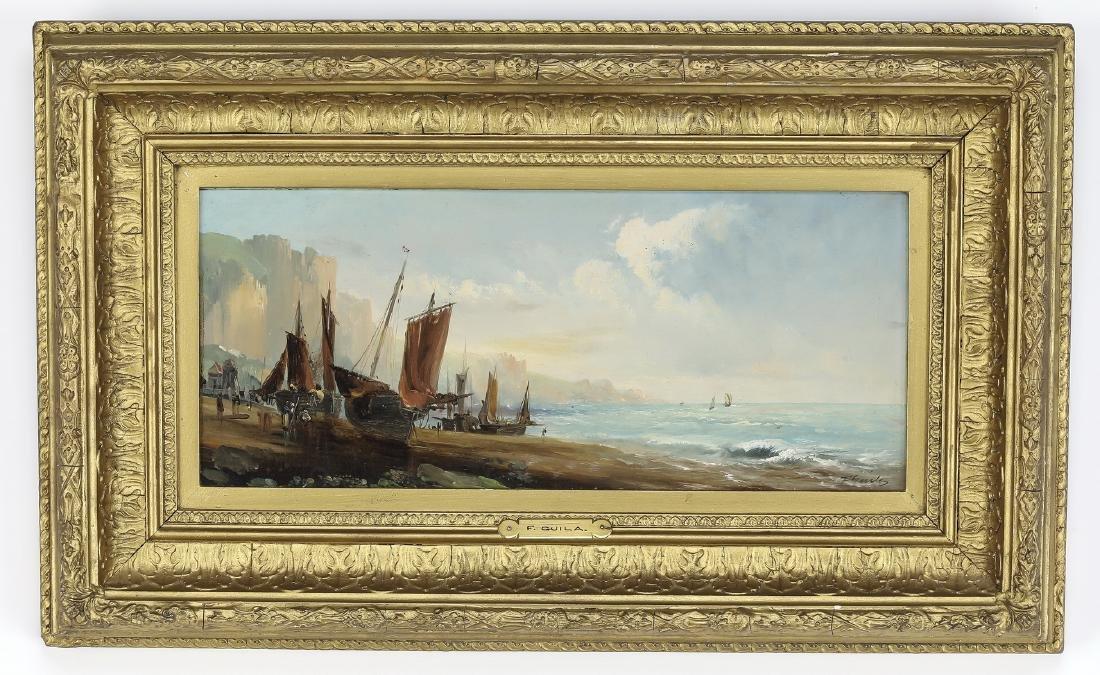 19th c. English O/panel of boats along the shore