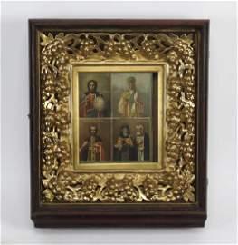 Russian Orthodox icon of Christ Pantokrator & saints