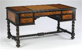 Maitland-Smith burl and leather partner's desk
