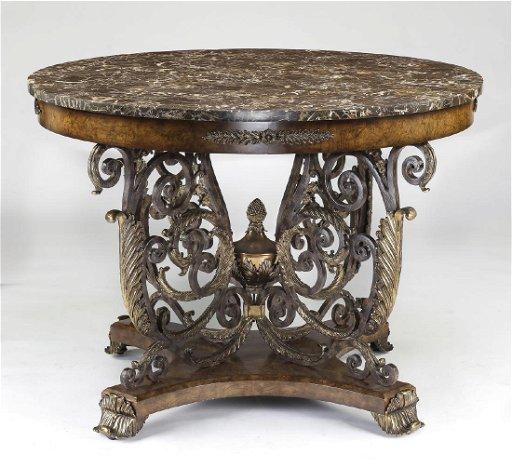 Maitland Smith Marble And Iron Center Table 46 Dia