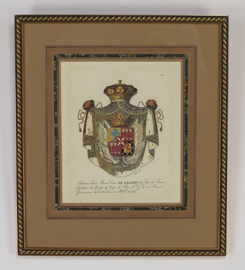(4) Framed prints of French heraldic crests - 3