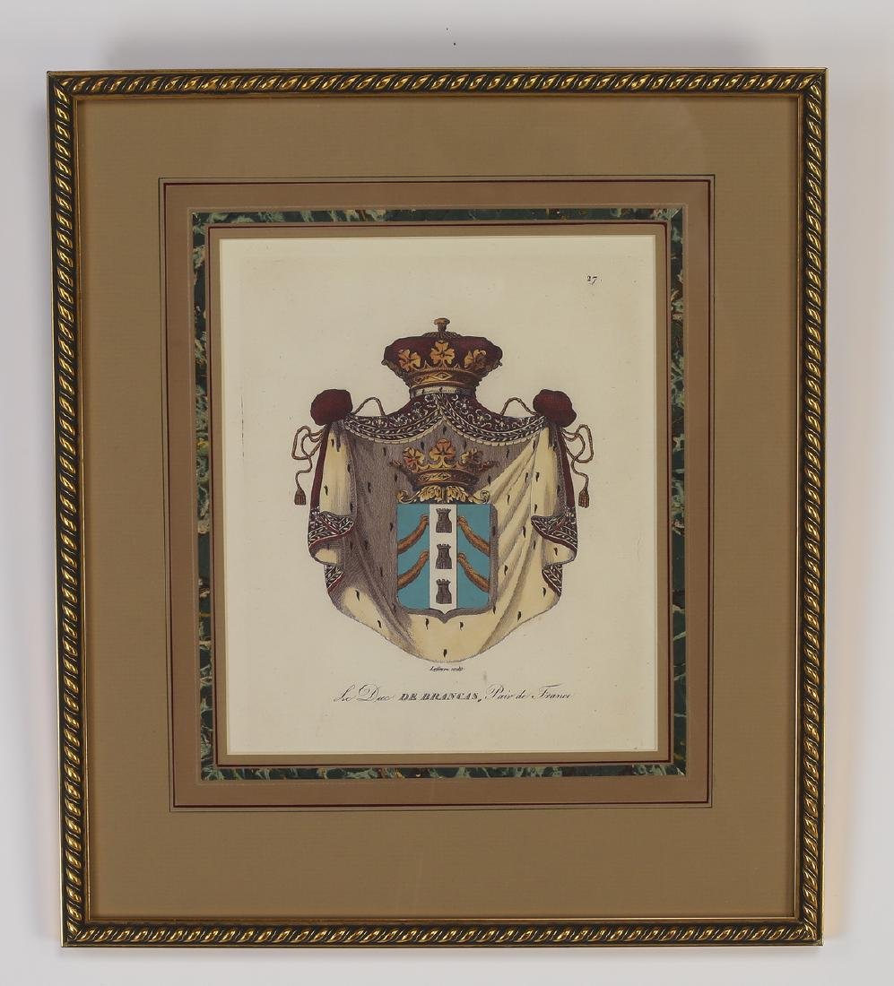 (4) Framed prints of French heraldic crests