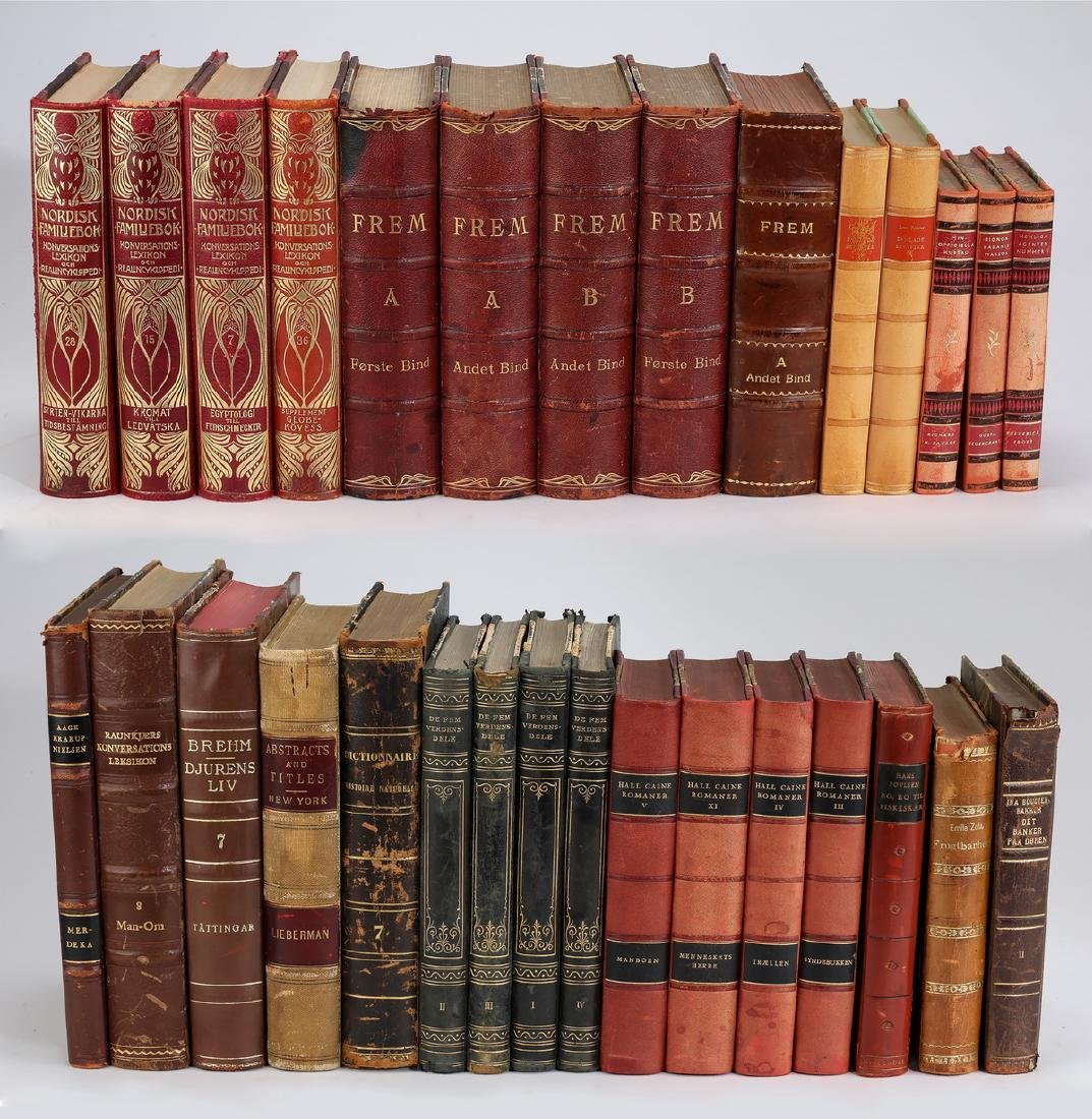 Thirty foreign language leather bound volumes