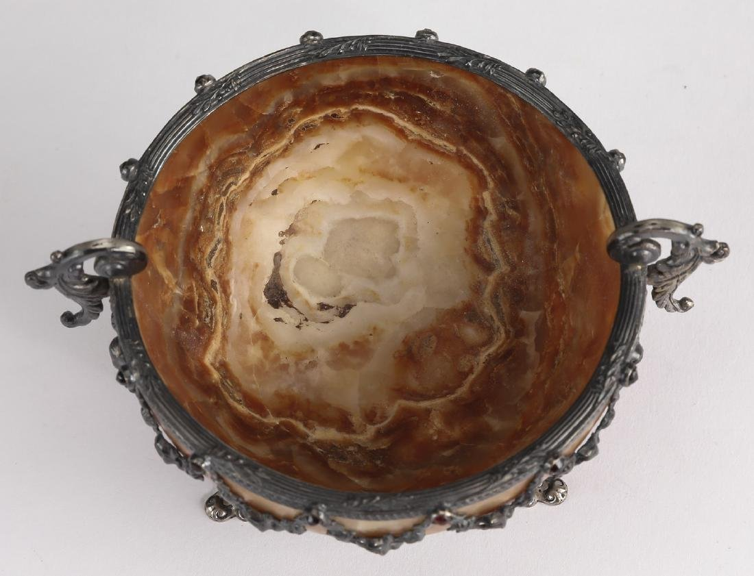 """Carved agate master salt w/ Neoclassical mounts 5""""dia - 4"""