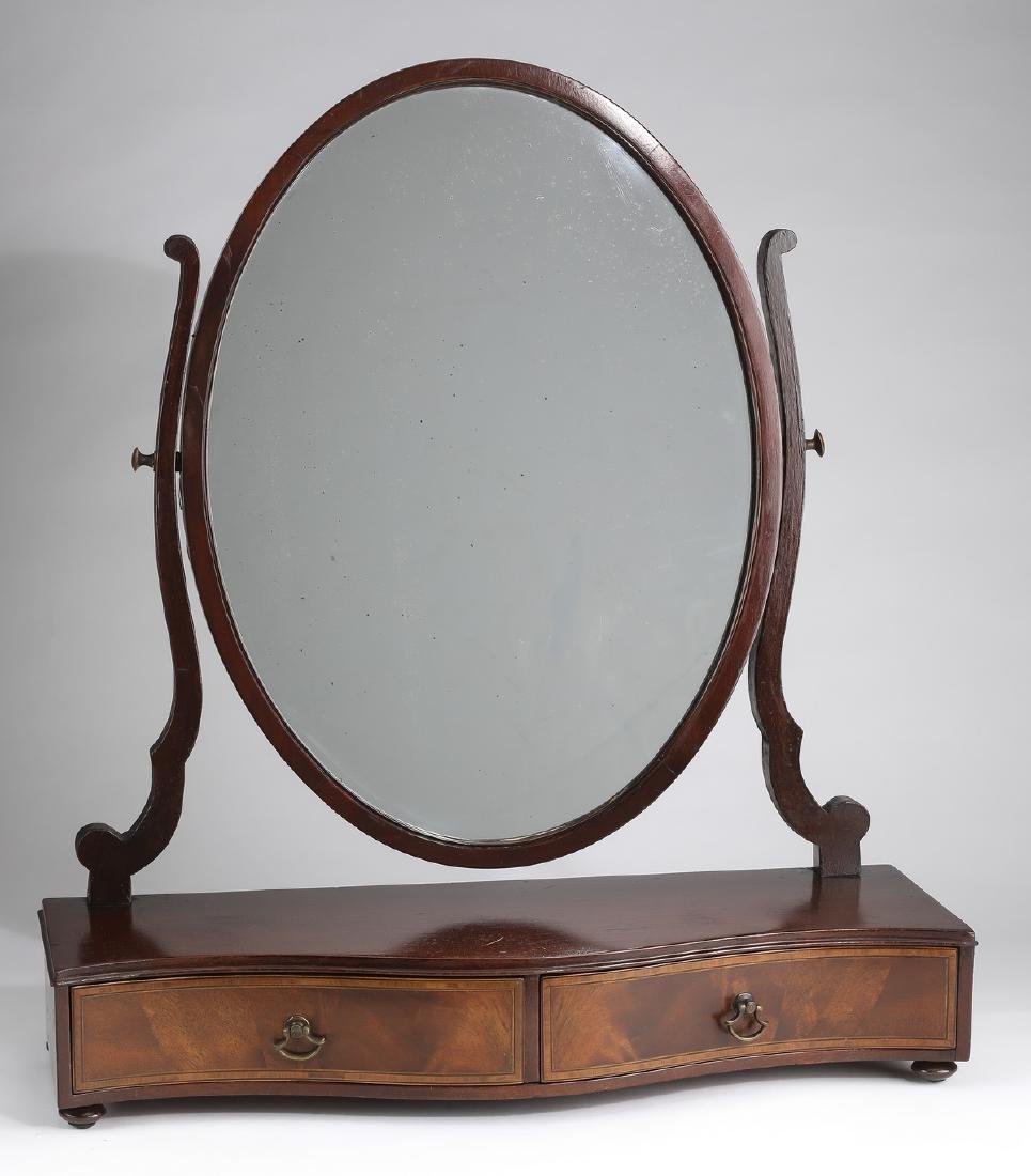 19th c. serpentine mahogany vanity mirror