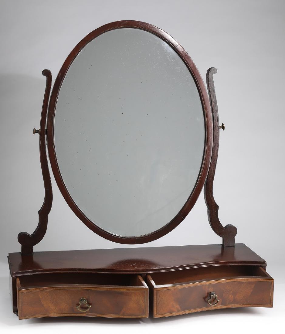 19th c. serpentine mahogany vanity mirror - 2