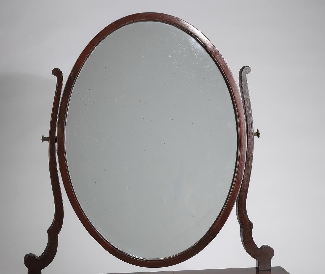 19th c. serpentine mahogany vanity mirror - 3