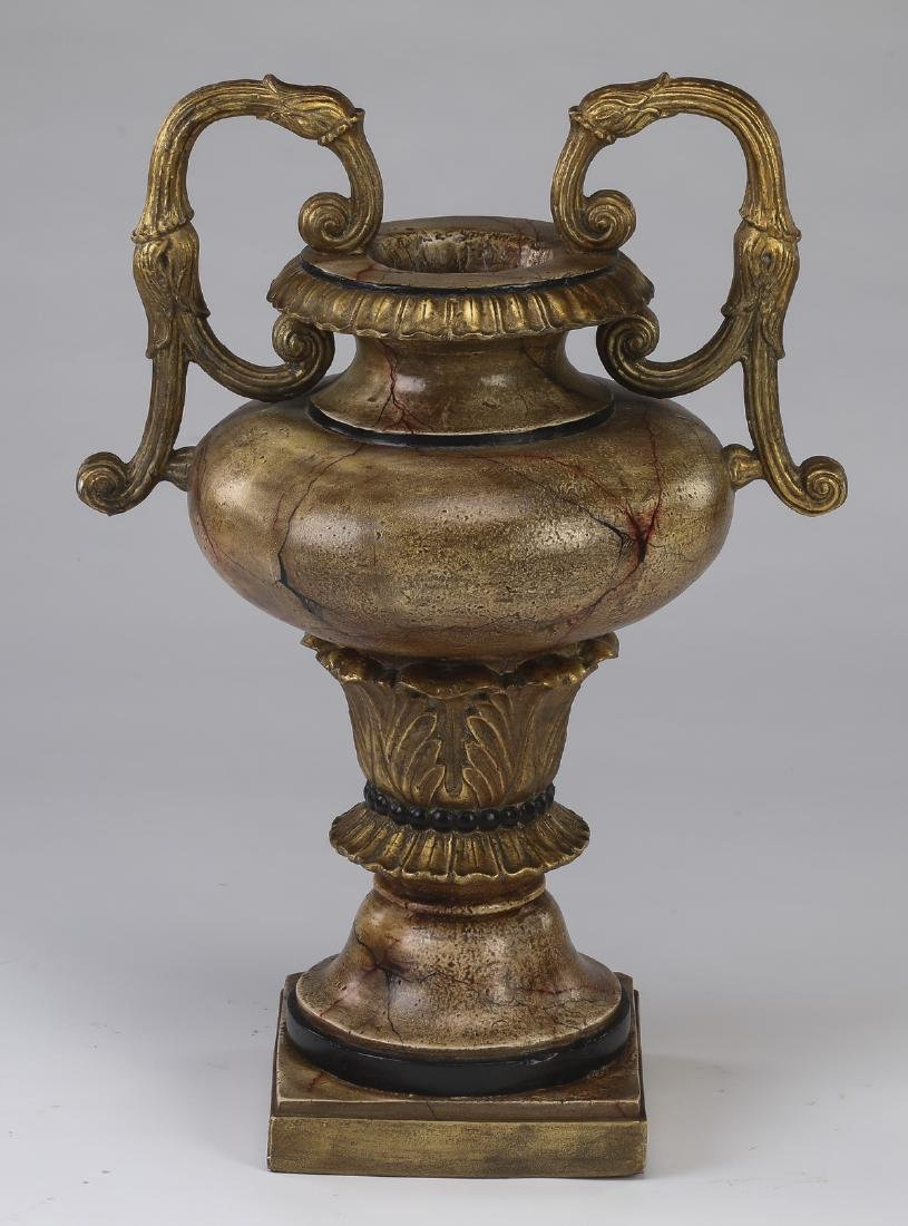 Neoclassical style gilt decorated faux stone urn