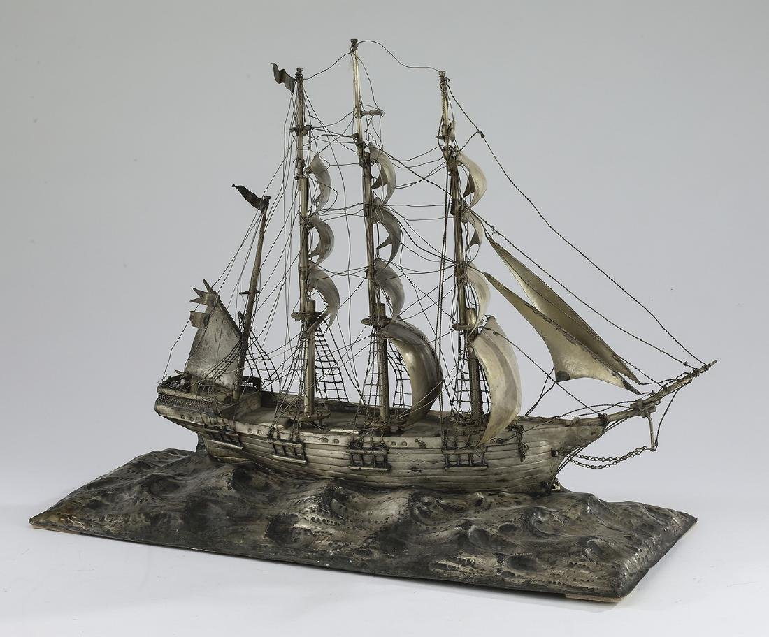 """Three masted barque ship model in silverplate, 22""""l"""