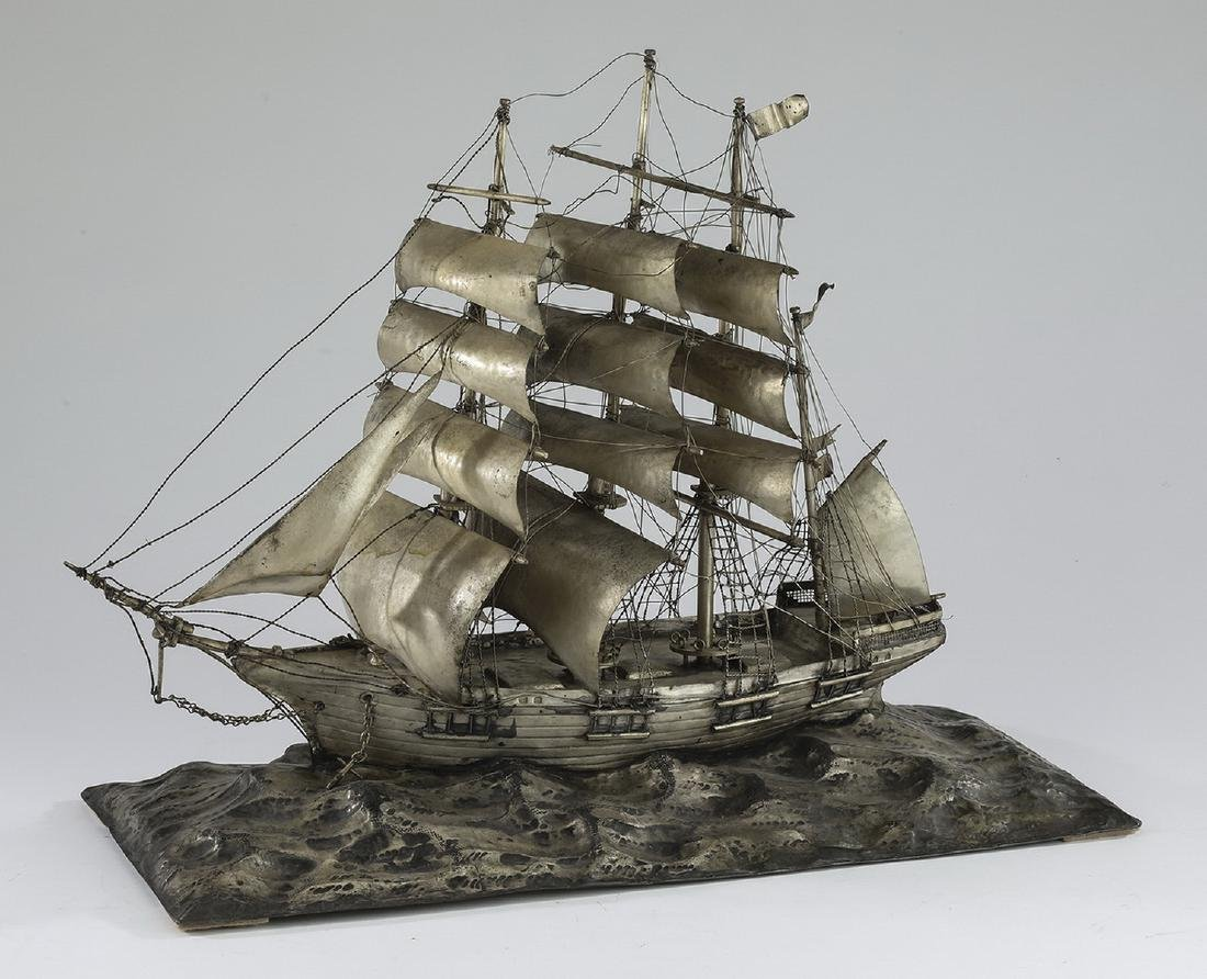 """Three masted barque ship model in silverplate, 22""""l - 2"""