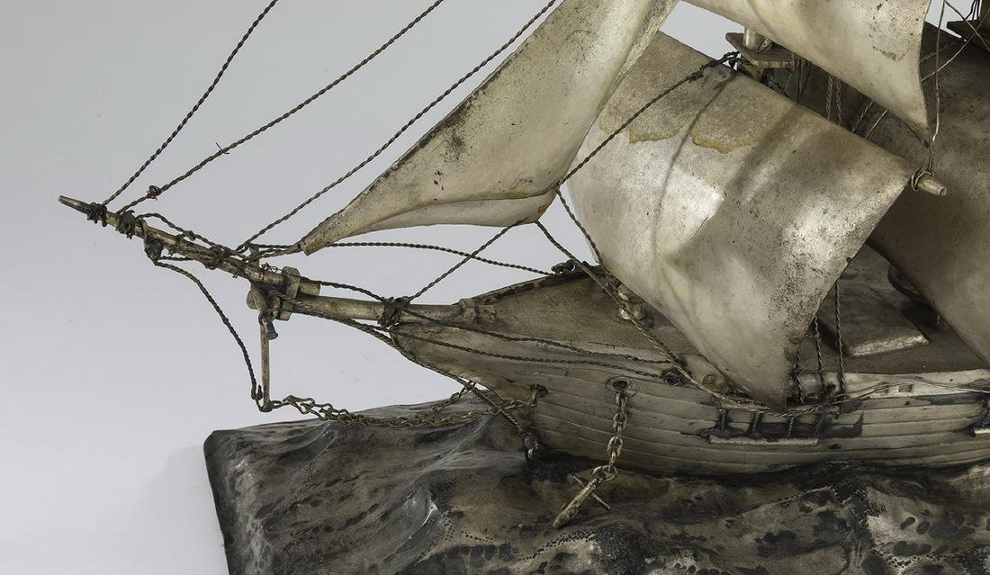 """Three masted barque ship model in silverplate, 22""""l - 4"""
