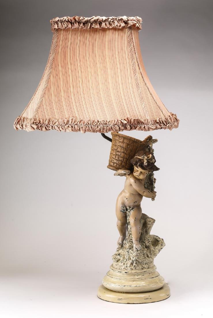 Early 20th c. porcelain putto lamp w/ custom shade